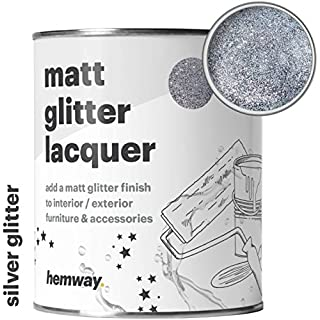 Hemway Silver Glitter Matt Varnish Lacquer Quick Dry Sparkling Glaze for Interior Exterior, Furniture, Fencing, Accessories, Brick, Wood, Stone, Plaster, Plastic, Tiles (125ml / 4.4oz)