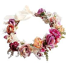 YAZILIND Flores de Novia Corona de Dama de Honor Guirnalda de Pelo de Playa  Floral Diadema 57fa0feb64fb