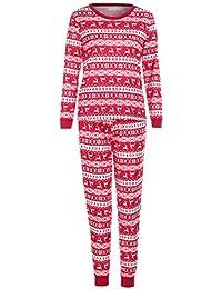 FRAUIT Familia Camiseta roja Tops Pantalones Pijamas Conjunto de Navidad Ropa Mangas largas de Invierno Familiares Ropa de Dormir Traje a Juego de Navidad Mujer Hombre Bebé Niño Niña de Pijamas