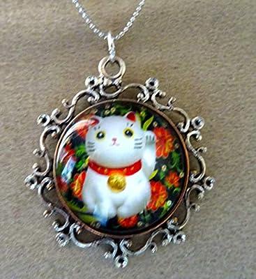 pendentif camée chat maneiki neiko métal argenté