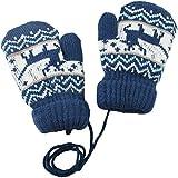 Sonia Originelli flauschig weiche Handschuhe für Kinder Kleinkinder Babys Fäustel Strick Kinderhandschuhe sanft F005K (Blau)