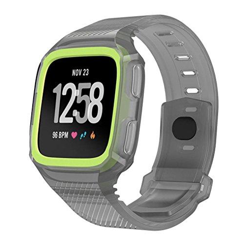 squarex Rugged Schutzhülle mit Silikon Handschlaufe Bands für Fitbit Versa Armbanduhr, damen, Gray+Green, AS - Iphone Für Kratzer-entferner