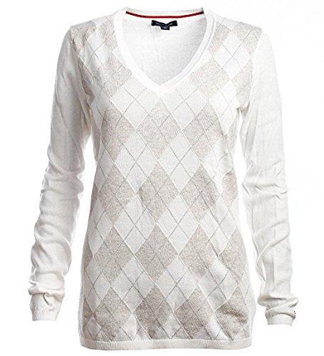 Argyle Pullover Mit V-ausschnitt (Tommy Hilfiger Damen V-Neck Pullover Argyle weiß beige Rauten Größe S)