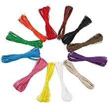 Tinksky 12 colori 10M 1mm cerato in cotone corde stringhe corde per fai da te collana bracciale mestiere che fa (colore casuale)
