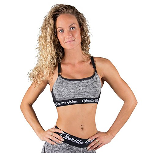 Aurora Beine (Gorilla Wear Aurora Bra - Mixed Gray / mix grau - Bodybuilding und Fitness Kleidung für Damen, L)