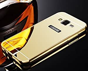 RR Luxury Metal Bumper Acrylic Mirror Back Cover Case For Samsung galaxy E7 - GOLD