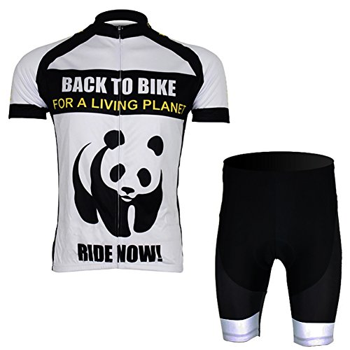 Free Fisher Herren Radtrikot-Set( Fahrradtrikot Kurzarm+ Radhose ohne Träger), Panda ( Schwarz/Weiß), Gr. XL