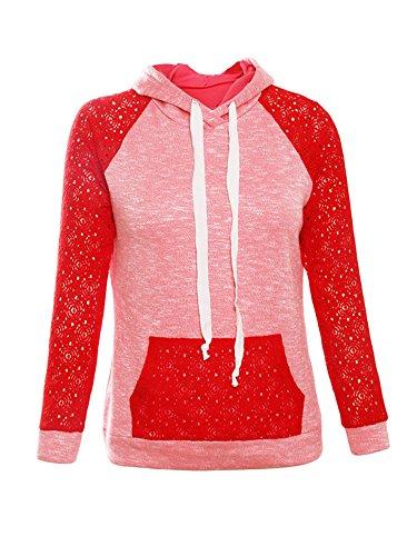 Damen Langarm Spitze Kapuzen Sweatshirt Elegant Sport Shirt Hoodie Pullover Oversize Bluse Herbst Tops (Für Hoodie Minion Erwachsene)