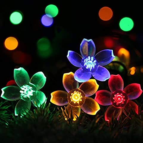 wilsea catena di luci solari decorazione Christmas ad energia solare esterni, IP65 impermeabile 7 m 50 led acqua Dict per Outdoor Party, casa decorazione, matrimonio, Natale, Festa Cerimonia multicolore