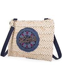 LOIS - 09402 Bolso/Neceser de rafia con asa de mano. Interior tela con cierre cremallera. Ideal para playa. Mandala decorativo de tela