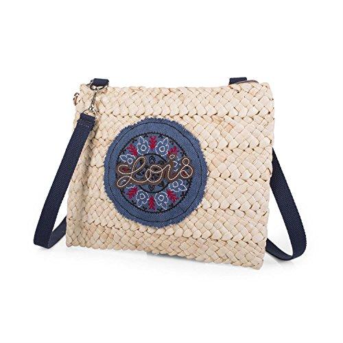 LOIS - 09402 Bolso / Neceser de rafia con asa de mano. Interior tela con cierre cremallera. Ideal para playa. Mandala decorativo de tela.