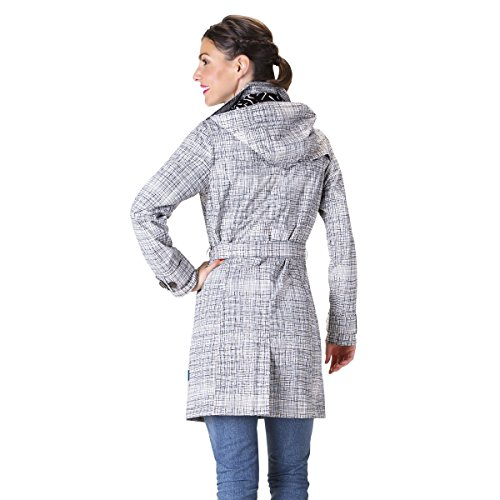 HappyRainyDays - Femme | Manteau imperméable, trench-coat avec capuche, Veste de pluie multicolore (strokes beige)