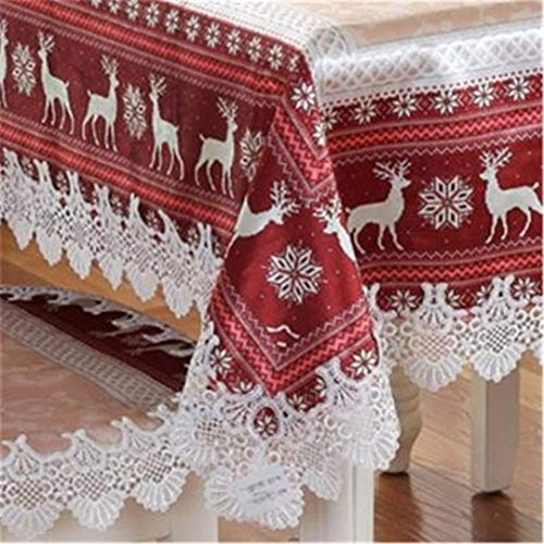 YHEGV Blue Red Weihnachten Tischdecke Stil Ziege Schneedecke Thanksgiving Tischdecke Manteles De Navidad Home Party Decor rot 110x160cm