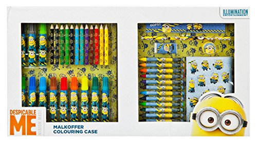 Undercover MNVA7293 Kindergartentasche, Minions, ca. 21 x 22 x 8 cm Malkoffer, 62 teilig