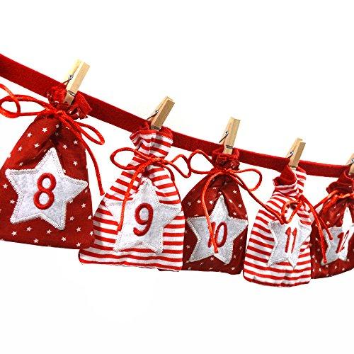 Frau WUNDERVoll Adventskalender 31 - Stoff, rot weiß - Weihnachtskalender Bastelset Adventskalender Adventskalender zum Befüllen/Weihnachten, Papiertüten, Kinder, Zahlen, Geschenkbeutel, Aufkleber