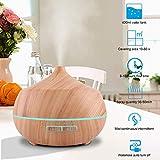 Aroma Diffuser 400ml Tenswall Luftbefeuchter Oil Düfte Humidifier Holzmaserung LED mit 7 Farben für für Yoga Salon Spa Wohn-, Schlaf-, Bade- oder Kinderzimmer Büro - 3