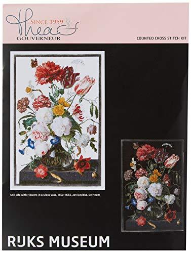 Thea Gouverneur Kreuzstich-Set, Motiv Stillleben mit Blumen auf Aida, 18 Stück - Kreuzstich-thea Gouverneur