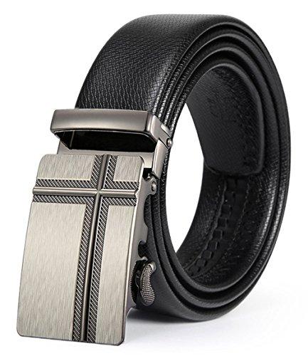 ITIEZY Herren Gürtel Ratsche Automatik Gürtel für Männer 35mm Breit Ledergürtel Schwarz 158