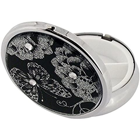 The Olivia Collection-Silvertone Gitter farfalla tempestata di viaggio Pill Box