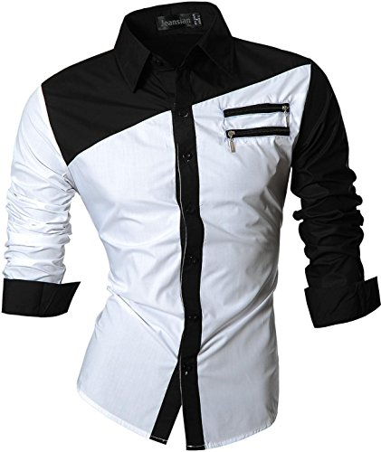 jeansian Herren Freizeit Hemden Shirt Tops Mode Langarmshirts Slim Fit 8397 Z015_White