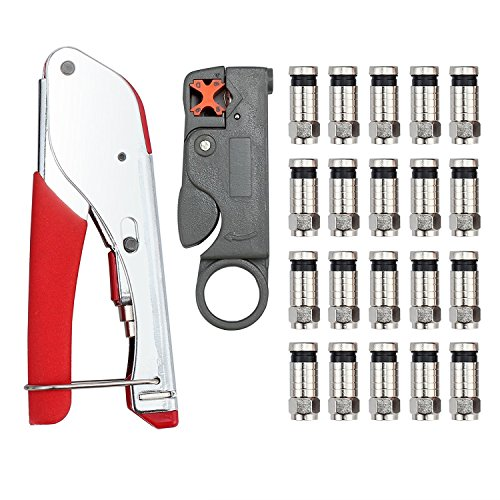 Kamtop Crimp-Kit F-Typ Kompression Crimp-Werkzeug + drehender Koaxialer Kabelschneider + 20 PCS Crimpverbinder