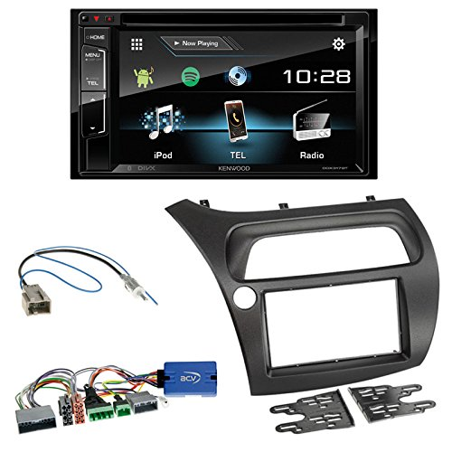Einbauset: Kenwood DDX318BT Doppel-DIN Bluetooth USB/DVD + 2-DIN Radioblende schwarz + Lenkradfernbedienungsadapter für Honda Civic VIII (FK1/FK2/FK3) + Civic Type R (FN2) / Type S (FN1/FN3/FN4)