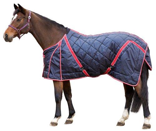 Kerbl 323631 Stall-Pferdedecke 220 g, 135 cm, schwarz / rot-weiß eingefasst