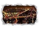 3D Wandtattoo Skyline Bangkok Hauptstadt Thailand Wand Aufkleber Durchbruch Stein selbstklebend Wandbild Wandsticker 11N637, Wandbild Größe F:ca. 140cmx82cm