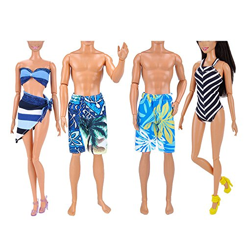 Für Barbie Zubehör,Beetest 4 Sets Verschiedene Stile Mädchen Puppe Spielzeug Sommer Badeanzug Strand Anzüge Junge Puppe Strand Hosen Kleidung Zubehör für Barbie Spielzeug Und Ken Puppen Ken Strand Puppe