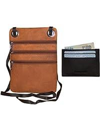 Style98 100% Genuine Leather Unisex Crossbody Sling Bag - Combo Of 2