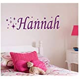 Personalised Star Wall Sticker, Any Name, Any Colour, Childs Bedroom.