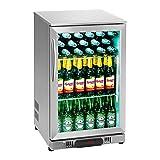 Royal Catering RCGK-108S Minibar Kühlschrank Getränkekühlschrank Flaschenkühlschrank mit Glastür (108 L, 2–10 °C, abschließbare Tür mit Doppelverglasung, LED Beleuchtung, Edelstahl)