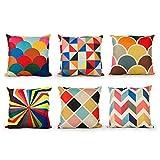 Top finel colorido geométrico algodón lino fundas de cojín para sofá almohadas Home decorativo juego de 6,...