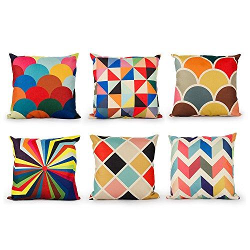 Top Finel 6 Pcs Housses de Coussin Coloré Géométrique  Coton et Lin Pour Canapé Maison Voiture 45 x 45 cm, Séries