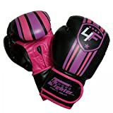 4Fighter guantes de boxeo negro/pink/púrpura para las niñas y las mujeres 4-12Oz, Onzas:4 oz