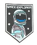 MissBirdler Space Explorer Astronaut Aufbügler Jeans Stoff Kleidung Weltraum Applikation Bügelbild Mund Patch DIY Pailletten für Textilien 9 x 6,2 cm