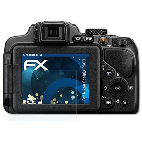 atFoliX Schutzfolie kompatibel mit Nikon Coolpix P600 Panzerfolie, ultraklare und stoßdämpfende FX Folie (3X) (Nikon P600 Kamera)