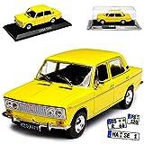 alles-meine GmbH FIAT 1500 Limousine Gelb Baugleich was 2103 FIAT 124 Special 1973-2003 mit Sockel 1/43 Modellcarsonline Modell Auto mit individiuellem Wunschkennzeichen