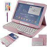 Contever® Funda de PU Cuero con Desmontable Teclado QWERTY Bluetooth Para Samsung Galaxy Tab 4 10.1'' T530 Tableta Protección Cover / Case / Carcasa con Soporte función -- Rosa