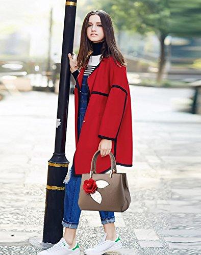 NICOLE&DORIS Donne Moda semplice borsa di Crossbody spalla borsa piccolo sacchetto morbido PU carino Totes Grigio Chiaro Cachi