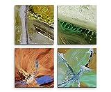 4 Bilder Set Abstrakt Terra Cotta Olivfarben Mint Blume