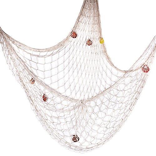 ca. 150 x 200 cm Fischernetz Dekoration mit Muscheln zum Aufhängen Fischnetz Deko Wandverzierung für Zimmer, Hochzeit, Party, Fotografie, Bühne usw. (Beige)