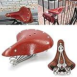 ~ 28X23X10Cm Vintage Red Brown-Fahrrad-Fahrrad-Echtes Leder Federn Sattelsitz