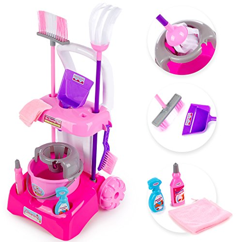 Putzwagen mit Staubsauger in Pink Reinigungswagen Spielzeug Spielküche KP3600 Putzwagen Reinigungswagen Spielzeug Putzwagen mit Besen KP3600 Kinder NEU PINK Kinderplayshop Set mit Putzwagen Kleinkind-mädchen-besen-set