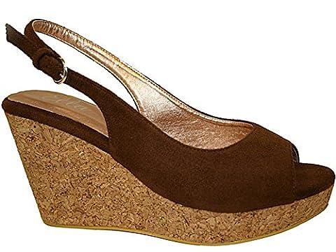 Ladies ELLA Faux Leather Suede Peep Toe Buckle Sling Back Cork Mid High Heel Wedge Summer Sandals Size 3-8 (UK 5,