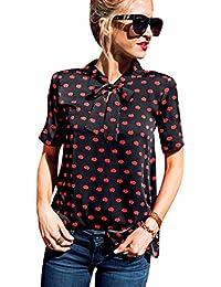 Imixcity Women's Casual Chiffon Bows Top Lips Print Short Sleeve Shirts Bowknot Shirts …