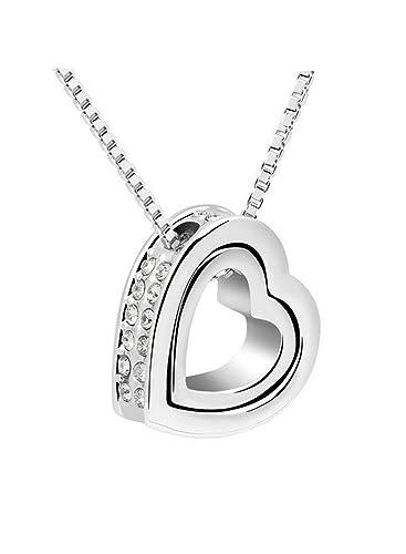 Weißgold kette mit herz  Damen Halskette mit Herzanhänger, Herzkette, HERZ RING Anhänger ...