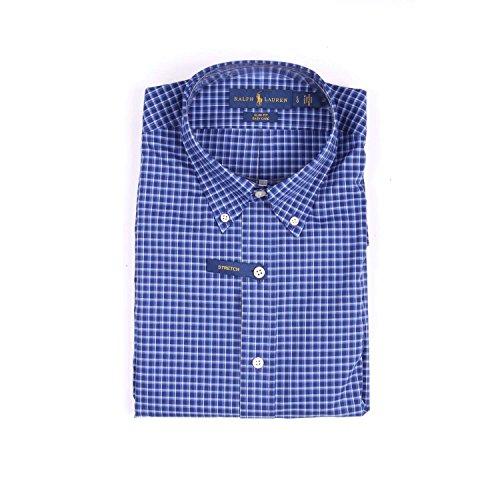 Polo ralph lauren, camicia slim-fit in tessuto 100% cotone stretch a quadretti, con bottoncini e logo, colore blue.