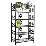 Outdoor Plant Stands FEMOR 5 Tier Metal Plant Garden Flower Stand Pot Display Shelves for Indoor & Outdoor Garden Use