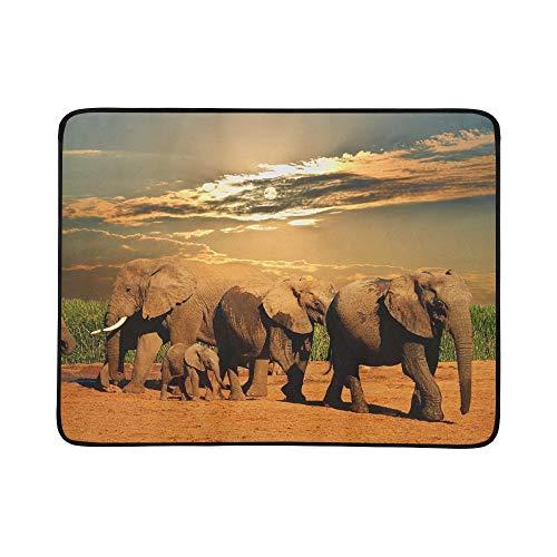 JEOLVP Manada de Elefantes africanos Loxodonta Africana Diversas Alfombrillas de Manta portátiles...